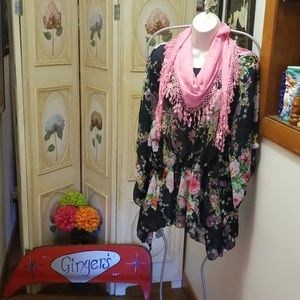 Floral blouse and scarf